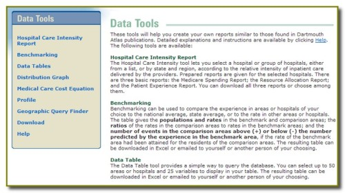 Data Tools - Dartmouth Atlas of Health Care 2008